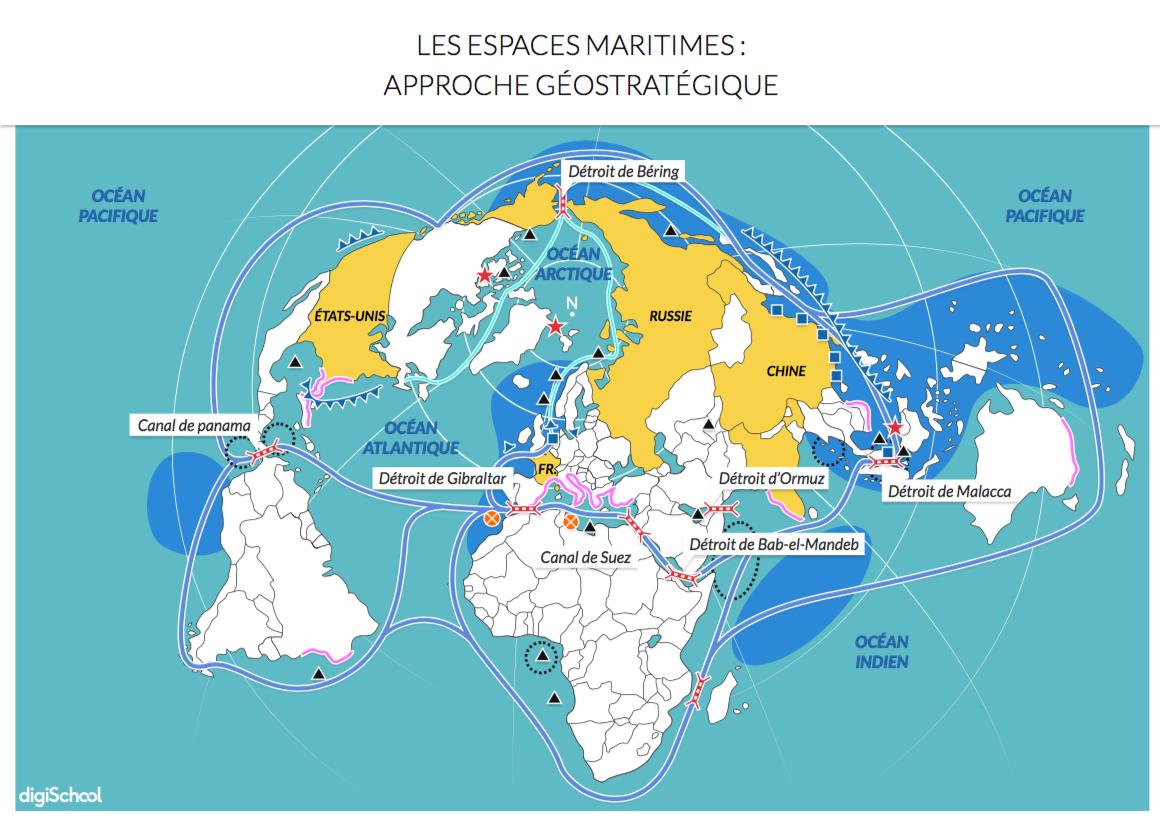 croquis géographie : les espaces maritimes - Bac ES